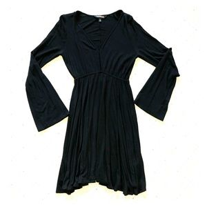 Black long sleeve mini swing dress